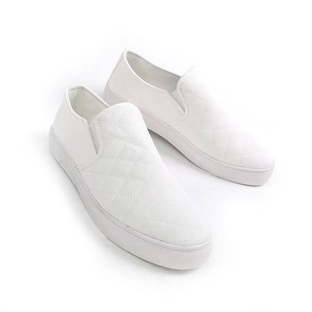 休闲奇葩2015新款小白鞋 白色帆布鞋 暖男 大白 套脚鞋 懒人鞋 一脚蹬3080