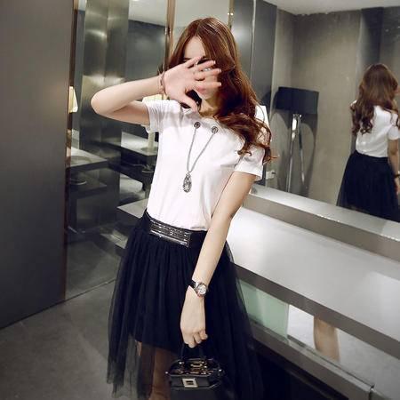 Mssefn2015夏新款韩版女装圆领短袖T恤 短裙套装配项链836