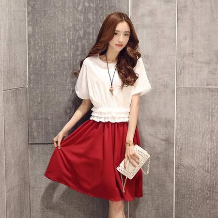 Mssefn2015夏季女装新款简约圆领短袖褶皱收腰修身甜美连衣裙52302