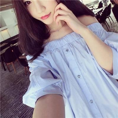 Mssefn2015夏装韩版一字领露肩蓝衬衫女7035F48