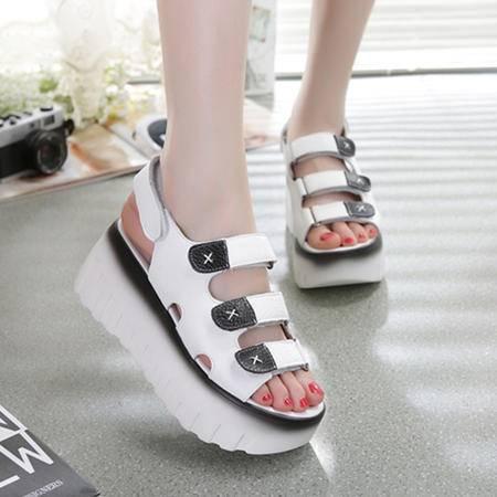 Mssefn2015欧洲 新品 真皮 魔术贴 瑶瑶女士凉鞋WZ30-3311