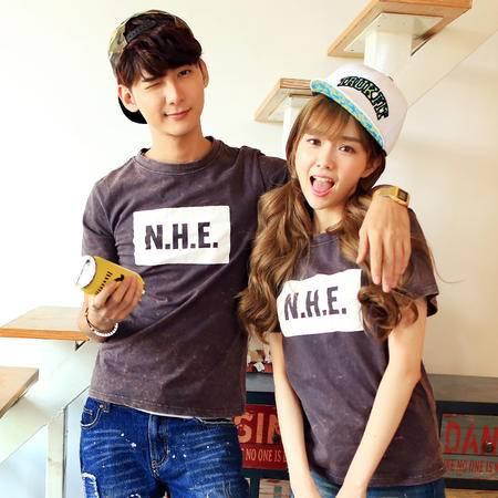 Mssefn2015情侣装 夏季水洗做旧短袖t恤H017