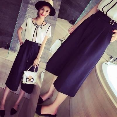 Mssefn2015夏装新款欧美百搭挺括显瘦洋气休闲七分阔腿裤女6407F53