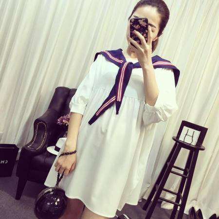 Mssefn2015春夏新款 韩版海军学院风披肩中袖圆领连衣裙6427F58