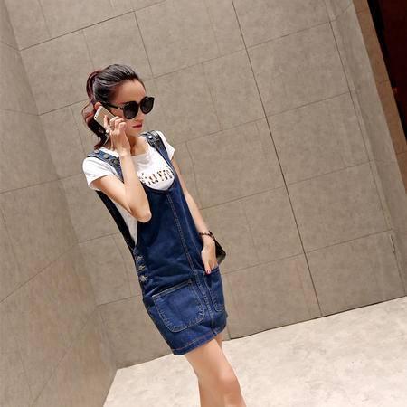 Mssefn2015夏装新款韩版女装牛仔背带裙显瘦6951