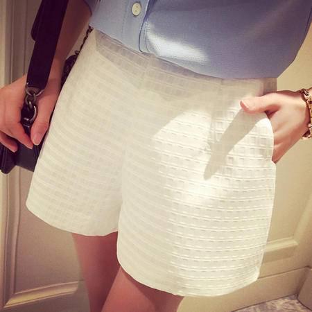 休闲奇芭 2015夏季女装装新款格纹短裤女 白色