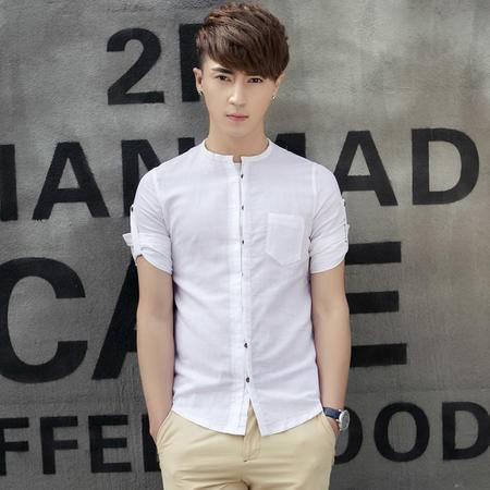 休闲奇芭 2015韩范男士简约纯色中袖可变短袖亚麻修身男圆领衬衣