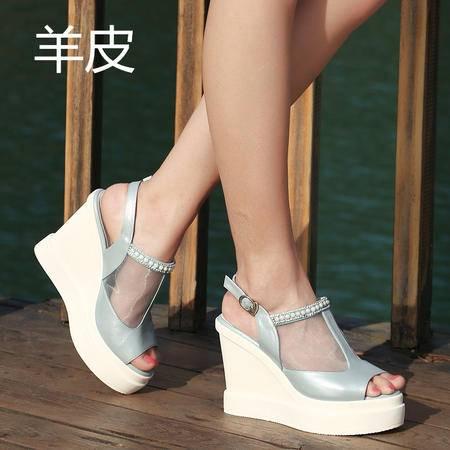 休闲奇芭 2015高端 精品 真皮 网纱 坡跟  凉鞋
