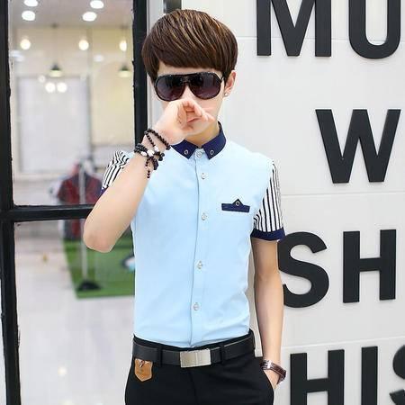 休闲奇芭 2015新款短袖衬衫男韩版修身潮青少年方领短袖衬衫条纹袖