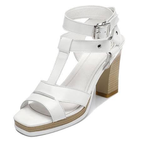 休闲奇葩2015夏装新款专柜正品鱼嘴 粗跟高跟鞋女士凉鞋子DS12-8232