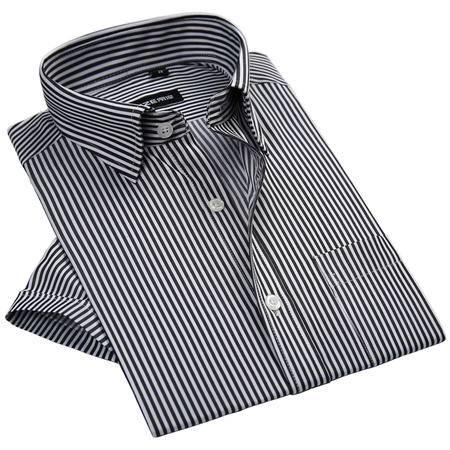 休闲奇芭 2015夏季男士短袖衬衫条纹短袖衬衫大码修身透气短袖衬衣