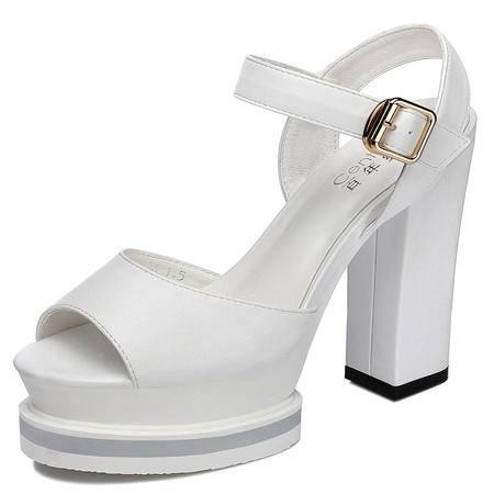 休闲奇葩2015夏装新款专柜正品鱼嘴粗跟高跟 厚底女士鞋子DS12-1063