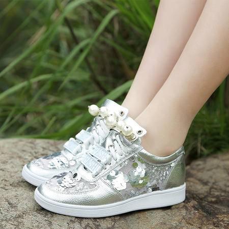 休闲奇葩2015 欧美新款 亮片网纱平底女士单鞋WZ18-1535-6