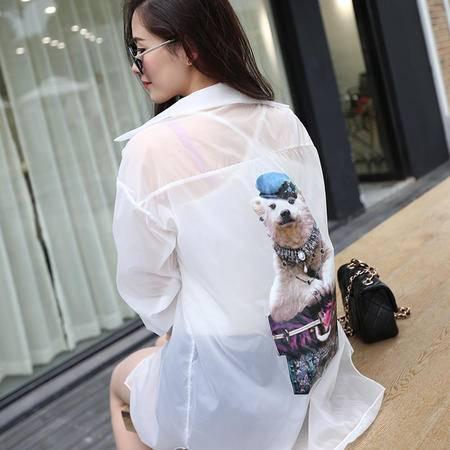 休闲奇芭 2015夏季女防晒衣燕尾衫长款袖外套