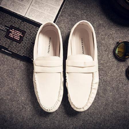 休闲奇芭 2015 夏季白色豆豆鞋潮鞋韩版男鞋英伦懒人鞋透气皮鞋男士休闲鞋
