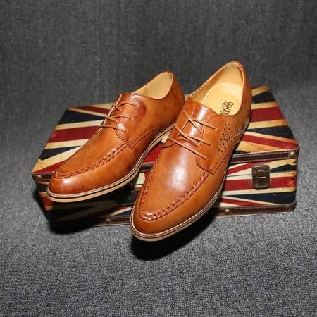 休闲奇芭 2015 时尚潮流新款布洛克尖头皮鞋铆钉鞋男
