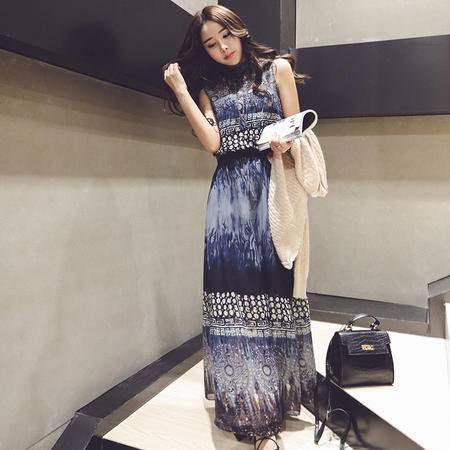 休闲奇芭 2015 夏装新款韩版女装气质无袖复古印花连衣裙民族风长裙潮