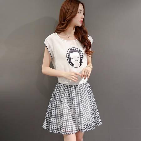 休闲奇芭 2015夏新款韩版女装气质人物时尚格子印花连衣裙最低