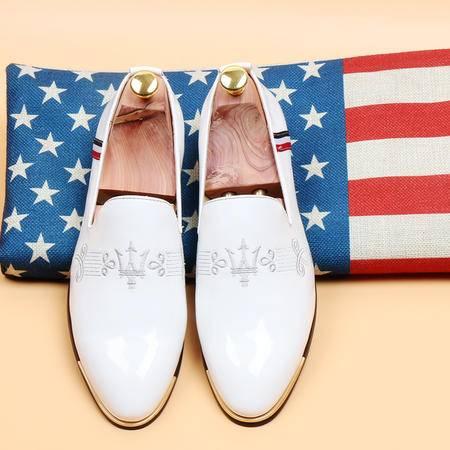 休闲奇芭 2015韩国男鞋时尚男士套脚皮鞋