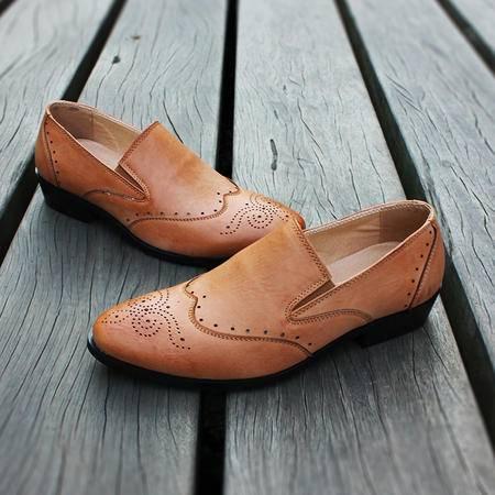 休闲奇芭 2015夏季新款商务正装皮鞋男尖头休闲鞋英伦发型师皮鞋