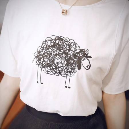 休闲奇芭 2015 夏新款圆领短袖印花T恤两件套韩版蕾丝网纱蓬蓬裙套装