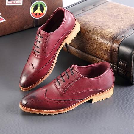 休闲奇芭 2015 布洛克皮鞋青年男鞋休闲小皮鞋潮流透气尖头男皮鞋