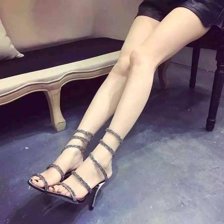 休闲奇芭2015 韩版时尚潮流百搭细跟凉鞋