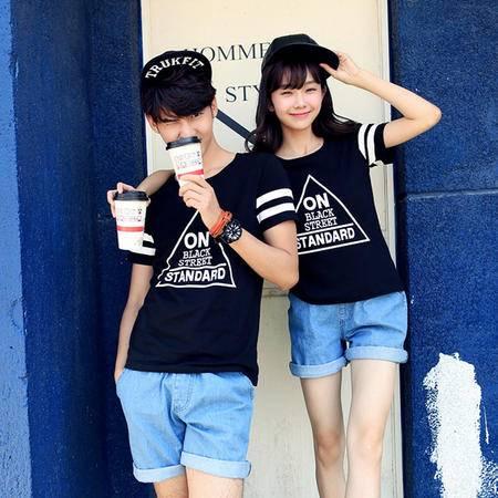 休闲奇芭 2015 夏季新品韩版时尚情侣休闲印花短袖T恤