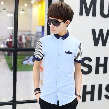 休闲奇芭 2015 新款短袖衬衫男青少年韩版修身潮英伦短袖衬衫