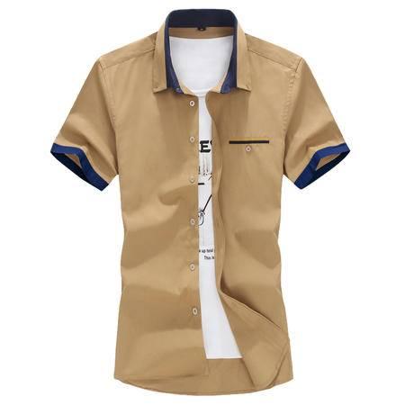 休闲奇芭 2015 夏装新款男短袖袖口拼色衬衫男衬衫短