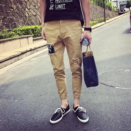 休闲奇芭 2015 夏日束脚的九分裤 有迷彩补丁 膝盖那里还有破洞设计~