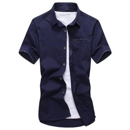 休闲奇芭 2015 夏季新款 韩版短袖纯棉衬衫修身男装时尚口袋休闲衬衣男