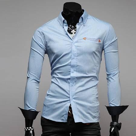 休闲奇芭 2015 韩版春秋装新款外贸衬衣 男修身长袖衬衫