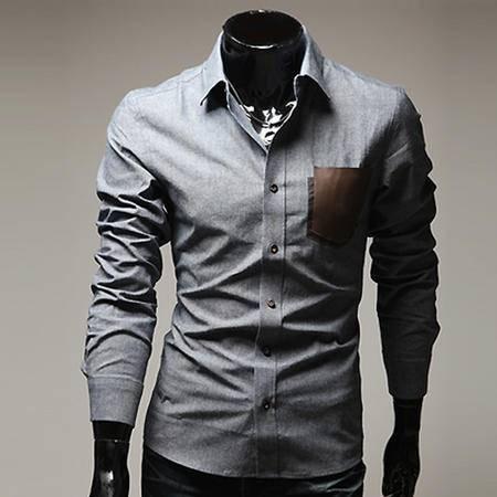 休闲奇芭 2015 春装新款男士贴皮衬衫修身款长袖衬衣男