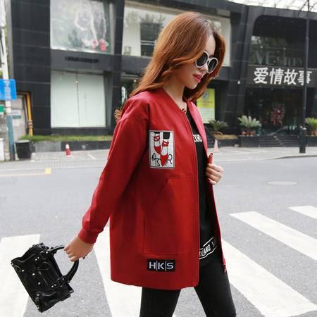 mssefn秋 新款韩版时尚休闲拼接贴布中长款外套 潮b39p110