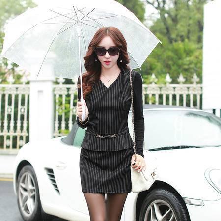 MSSEFN2015秋季新款韩版修身条纹连衣裙长袖拼接打底裙A035P118