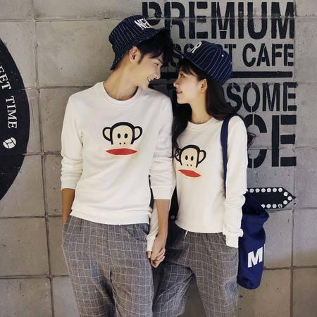 mssefn2015秋冬新品纯棉卡通可爱猴子男女情侣套头卫衣两色H01/P48