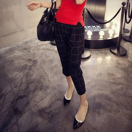 MSSEFN2015秋装新款韩版宽松百搭松紧腰方格子显瘦七分裤女裤K22-P45