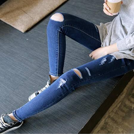 mssefn女秋冬季深色破洞牛仔裤长裤 电商基地C213可拿现货 A9107 P50