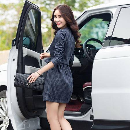 mssefn秋 新款韩版时尚女神范拼接格子中长款修身连衣裙配腰带b28p115