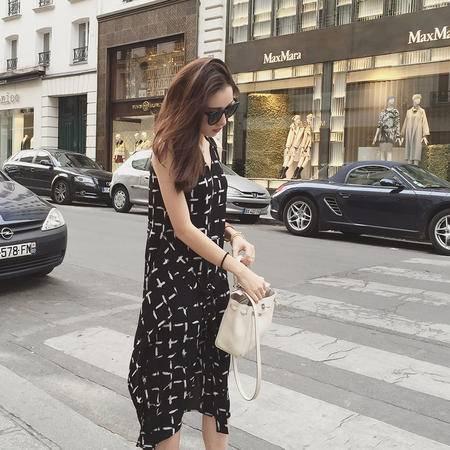 mssefn小宜定制秋季女装新款 长款无袖印花雪纺连衣裙750F65