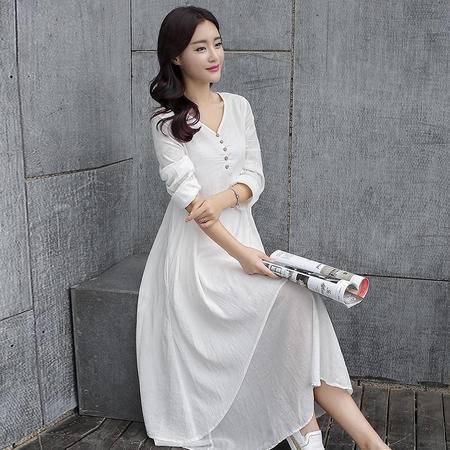 MSSEFN秋季棉麻连衣裙A028P125