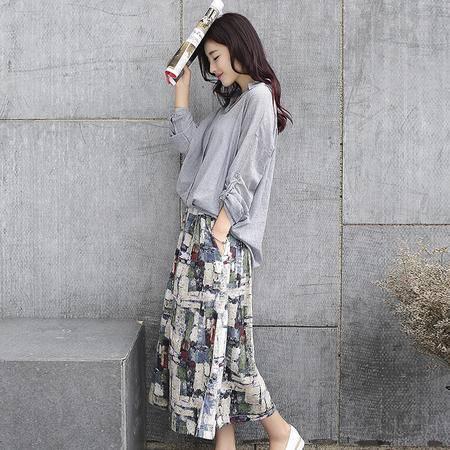 MSSE秋季棉麻连衣裙两件套A027P125