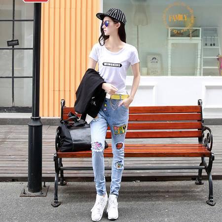 MSSEFN2015秋女装新款韩版时尚精致图案抓痕百搭牛仔裤 配皮带80801P150