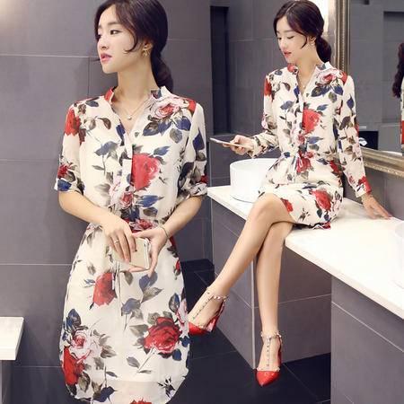 MSSEFN2015秋季新款时尚韩版印花长袖连衣裙配吊带Y559P100