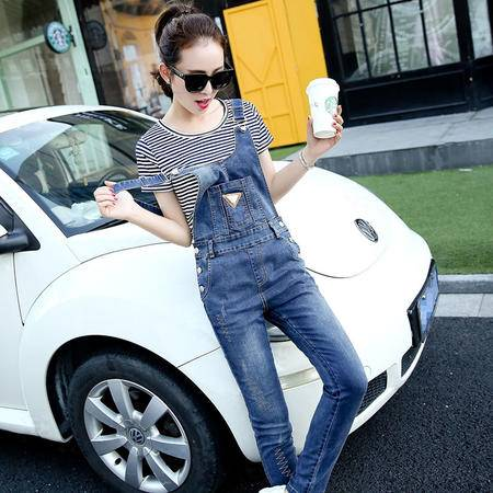 mssefn015秋季新款女装 时尚休闲牛仔背带裤女长裤CSYL5636P130