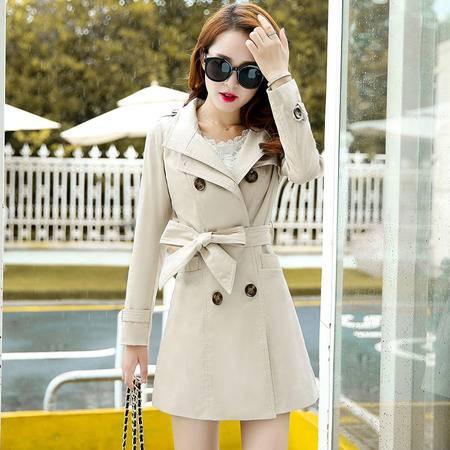 mssefn秋季时尚女装 中长款女修身秋装风衣外套YS1060P135 配腰带