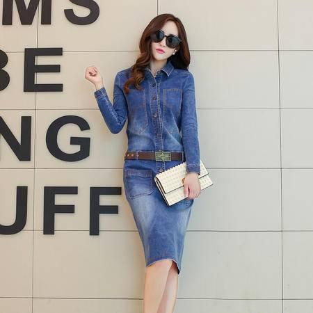 mssefn2015秋季新款女装 女士韩版中长款牛仔秋装连衣裙中裙YS526P130