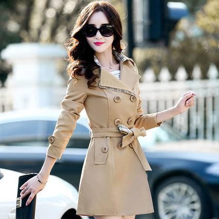 mssefn2015新款秋季韩版女装中长款女士秋装风衣外套YS1080配腰带