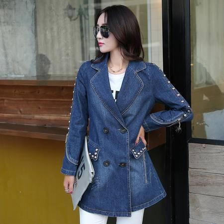 mssefn2015秋季新款时尚女装 中长款欧美街头秋装牛仔风衣外套YS580P150